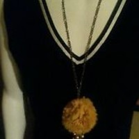 NWOT Cloth Pom Lng Chain Necklace w/crystal bead earring setYELLOW Jewelry