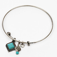 Turquoise Square Charm Bangle Bracelet