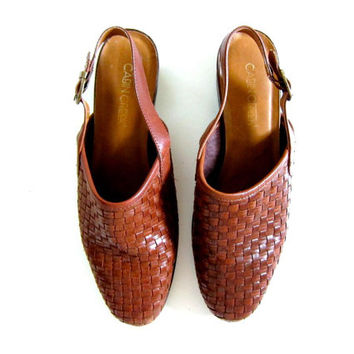 Woven Leather Mules 90s Vintage Brown Slip Ons Shoes Braided Leather Slingbacks Chunky Heels 1990s Buckled Closed Toe Shoes Womens 9.5