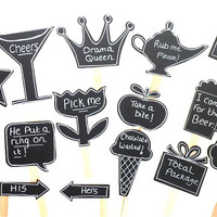 15 Chalkboard Photo Booth Props Speech Bubble Props Beer Mug Champagne Glass Chalk board Photobooth Props Set of 10 Wedding Decoration