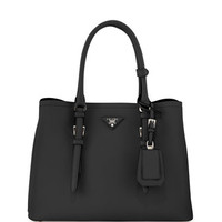 Prada Saffiano Cuir Covered-Strap Double Bag, Black (Nero)