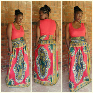 Orange Sleeveless Tribal Print Maxi Dress