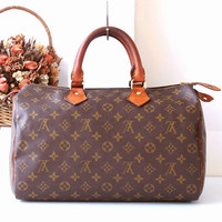 Louis Vuitton Monogram Speedy 35 handbag Authentic Vintage Handbag