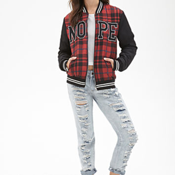 FOREVER 21 Nope Plaid Bomber Jacket Black/Burgundy
