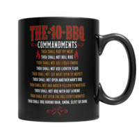 """The 10 BBQ Commandments"" 11 Oz. Black Coffee Mugs(Version1)"