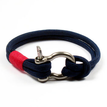 Nautical Shackle Rope Bracelet Navy Blue Paracord Shackle Bracelet Whipped With Red