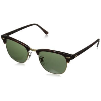 Ray-Ban RB3016 Classic Clubmaster Sunglasses Tortoise Frame G15 Green 51 mm Lenses