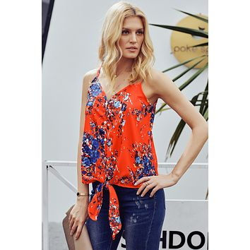 Orange Floral Sleeveless Spaghetti Straps Summer Vest