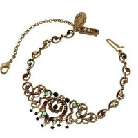 Michal Negrin Bracelet with Vintage Elements,Safety Chain,Beads,Brown,Black and Green Swarovski Crystals - Very Feminine,Hypoallergenic: Jewelry: Amazon.com