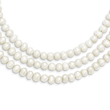 Sterling Silver Triple Strand White FW Cultured Pearl Necklace QH2469