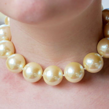 Vintage CAROLEE Pearl Choker Necklace Large Ivory Beads Adjustable Wedding Bridal Statement 1980's // Vintage Designer Costume Jewelry