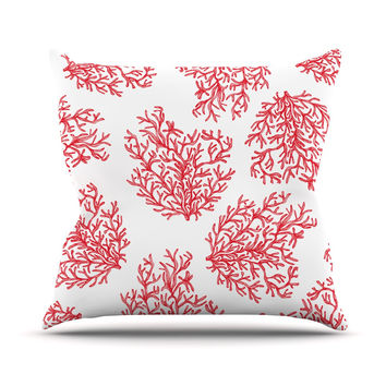 "Anchobee ""Coral"" Red White Throw Pillow"