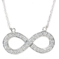 "1/3CT Real Diamond Infinity Symbol Womens Pendant 14K White Gold 18"" Chain & Box"