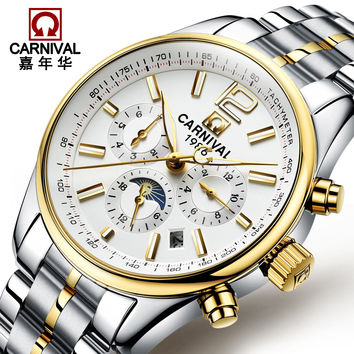 Carnival stainless steel gold fully-automatic mechanical watch fashion waterproof watch male fashion male table commercial