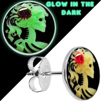 Glow in the Dark Red Rose Skull Cameo Stud Earrings | Body Candy Body Jewelry