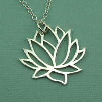 Silver Lotus Necklace - sterling silver lotus necklace - pendant - handmade - flower necklace