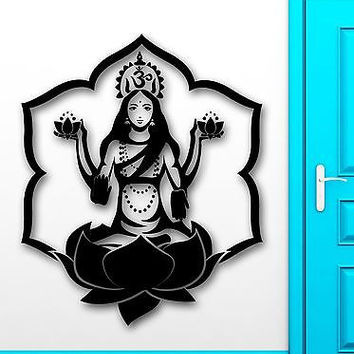 Wall Sticker Vinyl Decal Om Mantra Meditation Girl Buddhism Lotus (ig2139)
