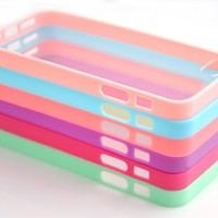 Costyle Wholesale 6pcs/lot 6 Colors Soft Trim High Clear Back Hard Cover Bumper Case Skin for iPhone 5 5G 5S 5GS