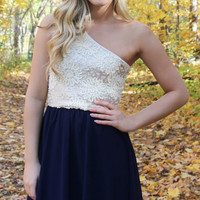 Subtle Sparkle Dress - Navy