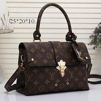 LV Women Shopping Bag Leather Satchel Shoulder Bag Crossbody F Brown+LV Print