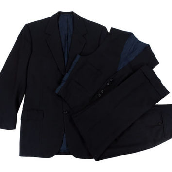 Vintage Bespoke Three Piece Suit by W G Child and Sons - Navy Blue Herringbone Savile Row Menswear - Men's Size 39 Medium M