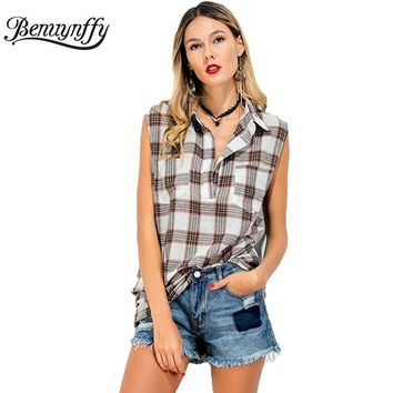 New Summer Sleeveless Shirt Top Women Casual Vintage Plaid Turn Down Collar High Low Blouse Long Blusas