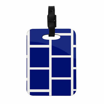 "NL designs ""Navy Square Blocks"" White Pattern Decorative Luggage Tag"