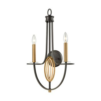 10513/2 Dione 2 Light Wall Sconce In Oil Rubbed Bronze With Brushed Antique Brass Accents - Free Shipping!