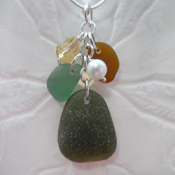 Green Sea Glass Necklace Beach Glass Jewelry Sterling Pendant Fall Colors