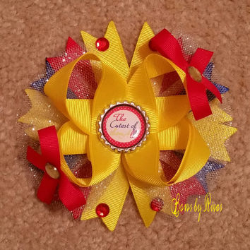 Yellow Red Blue Boutique Stacked Hair Bow with Gems Tulle Bottle Cap Image says The Cutest of them All