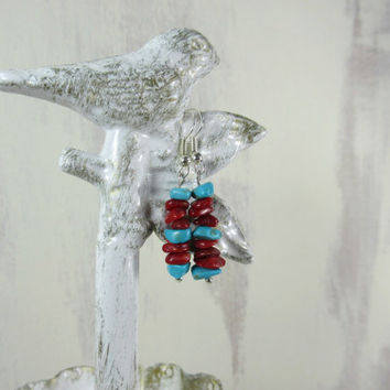 Red Stone Earrings, red bamboo coral and turquoise wagnerite stone earrings, red and turquoise chip beads