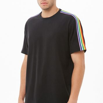 Rainbow Striped-Trim Tee