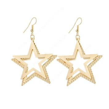 Double Five-pointed Star Dangle Long Earrings For Women