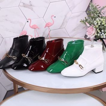 BURBDRRY Trending Women Leather Side Zip Lace-up Ankle Boots Shoes Best Quality