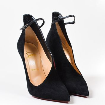 DCCK2 Christian Louboutin Black Suede Cutout Vampydoly 120mm Stiletto Pumps