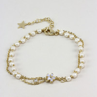 Purple Charm Pearl and Chain Stacking Bracelet