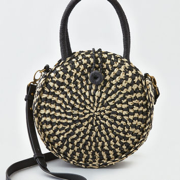 AEO Round Straw Crossbody Purse, Black