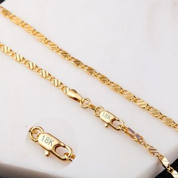 2mm Flat Chain Necklace For Women Men Jewelry Necklaces & Pendants Charms Jewellery 16 18 20 22 24 26 28 30 inch Wholesale M175