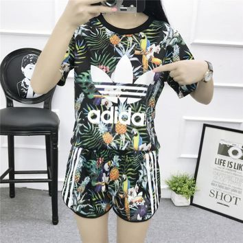 """Adidas"" Women Sports Casual Multicolor Pineapple Toucan Print Short Sleeve Set Two-Pi"
