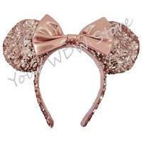 Your WDW Store - Disney Ears Headband - Minnie Rose Gold Ears with Bow
