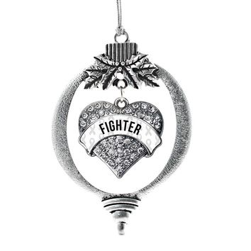 White Fighter Pave Heart Charm Holiday Ornament