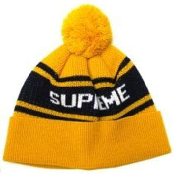 Supreme Women Men Embroidery Winter Beanies Warm Knit Hat Cap