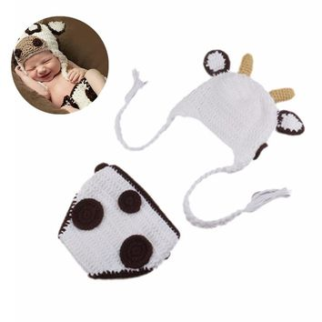 Cute Outdoor Newborn Cow Pattern Conjoined Cap Handmade Photography Costume Baby Suit Hat Pants Set