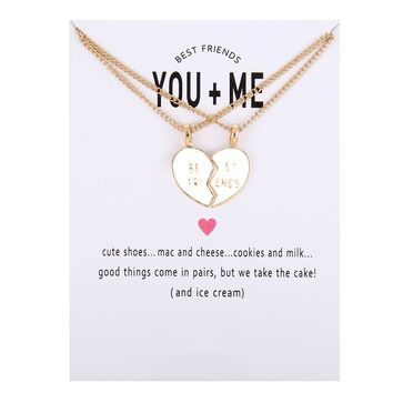New Arrived glaze Friendship Broken Heart Best Friend You And Me Alloy Clavicle Pendant Necklace For Women