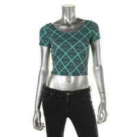 Material Girl Womens Juniors Printed U-Neck Crop Top