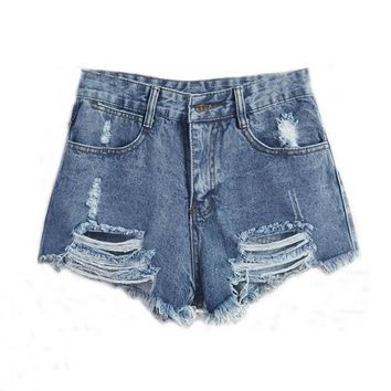 Women's Casual Comfortable High Waist Ripped Denim Jeans Shorts