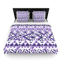 "Pom Graphic Design ""Tribal Simplicity II"" Purple White Lightweight Duvet Cover"