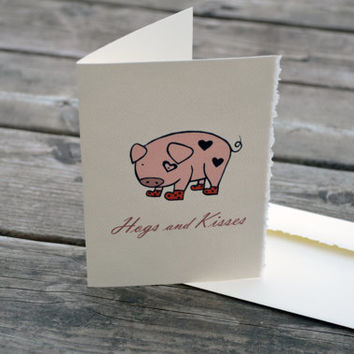 Hugs and Kisses pig card - Hogs - Love pig Card - Valentine Day Pig card - I love you - You are so sweet Pig - Cute Pig with strawberry card