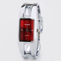 KIMIO Fashionable Silver Band Alloy Case Lady Bracelet Wrist Watch Rectangle Red Dial Women Quartz Magic Watches (Red)