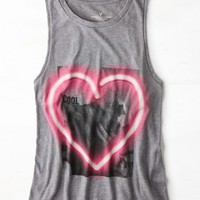 AEO Women's Neon Heart Graphic Tank (Scrimmage Heather)